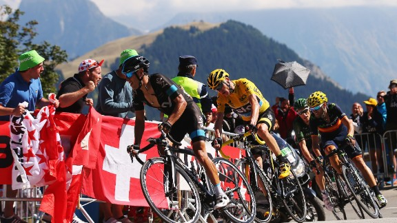 Cyclists compete in the 20th stage of the 2015 Tour de France on Saturday in Modane Valfrejus, France.