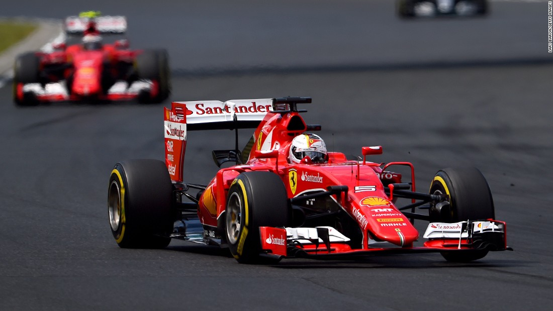 Vettel leads the Hungarian Grand Prix on his way to his 41st career win in F1 and his second for Ferrari.