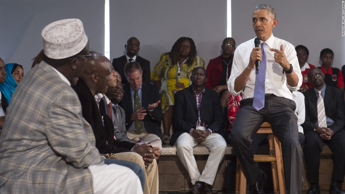 Obama addresses representatives of civil society organizations at the Young African Leaders Initiative Regional Leadership Center in Nairobi on July 26.