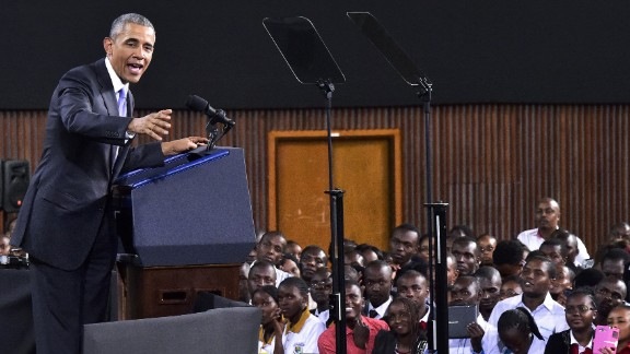 Obama speaks at the Moi International Sports Center in Nairobi on July 26. He offered his own personal history as evidence that all Africans have the potential to rise from even the most difficult circumstances.