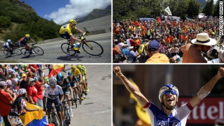 A montage of photographs showing fan fervor on the 20th stage of the Tour de France on the Alpe d'Huez.