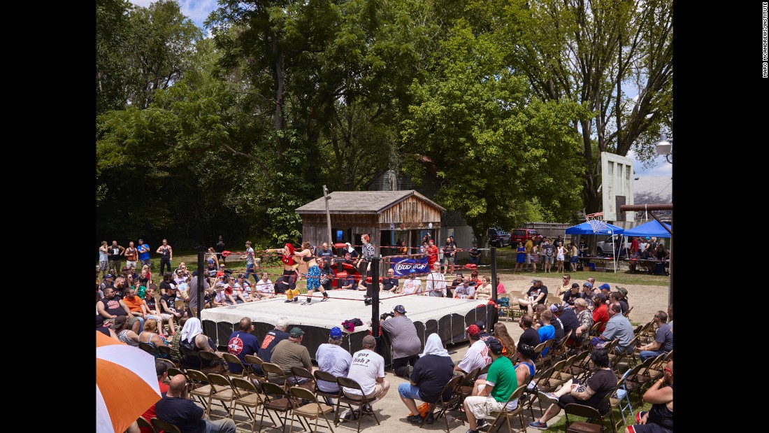 At many of these small, independent shows, there are also more traditional pro-wrestling matches. This show was in New Albany, Indiana, in June 2014.