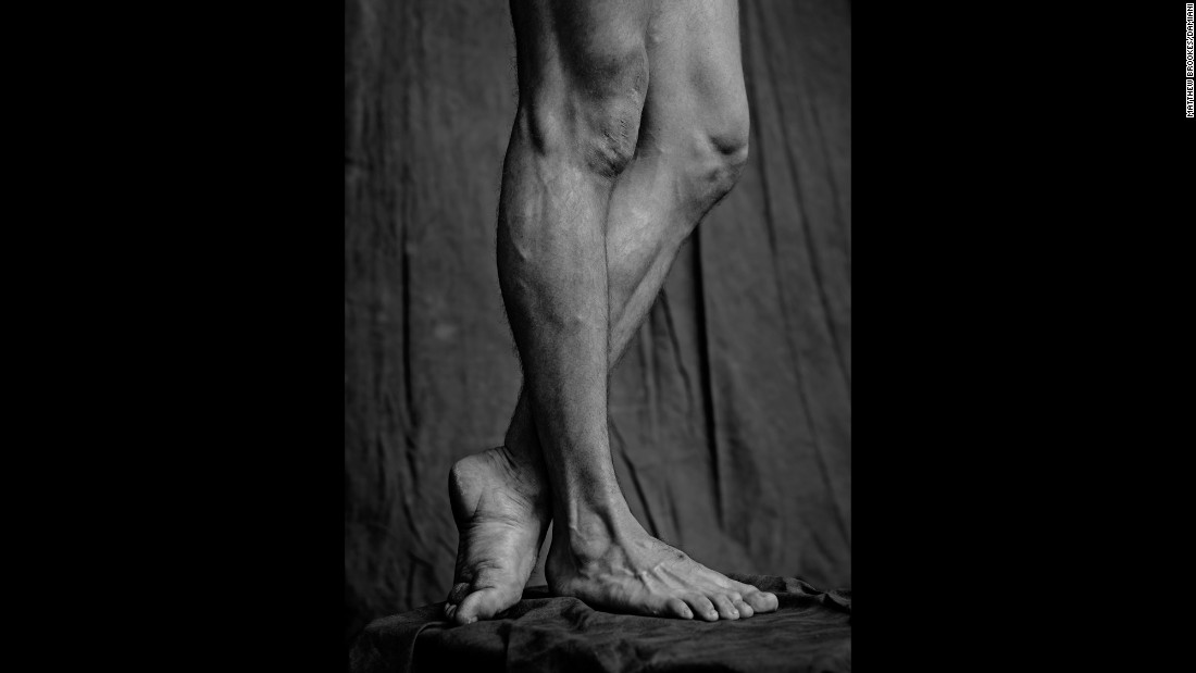 A closeup of a dancer's legs.
