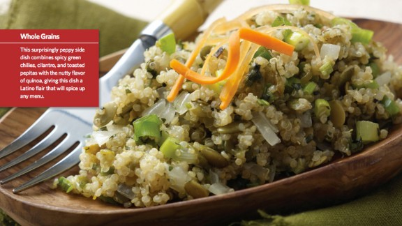 CLICK HERE FOR FULL RECIPE A healthy alternative to rice, quinoa is trendy among kids and parents alike. Sartell, Minnesota, Chef Paul Ruszat, as well as kids, parents and school nutritionists  from Sartell Middle School teamed up to create this peppy version.