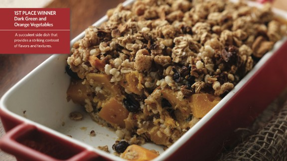 CLICK HERE FOR FULL RECIPE  An unusual combo of butternut squash and granola looks good enough to eat anytime of the day. Winning first place in the green and orange veggie division, Harvest Bake is the brainchild of Chef Bryan Ehrenholm and the kids from Joshua Cowell Elementary School in Manteca, California.