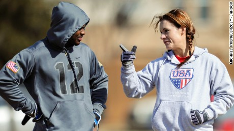 Caption: Feb. 13, 2014 - Allen, TX, United States of America - Jennifer Welter (right) visits with a teammate while waiting to participate in a drill during practice Thursday, February 13, 2014, in Allen, Texas. The 5-foot-2-inch, 130 pound Welter is the first woman to try out for a professional football team at a position other than kicker, she is trying to make the Texas Revolution of the Arena Football League, as a running back. CSM /Landov   Photographers/Source: MICHAEL PRENGLER/CSM /LANDOV
