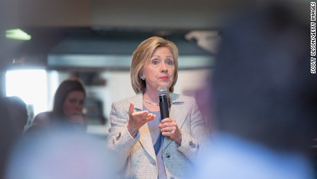 Democratic presidential hopeful and former Secretary of State Hillary Clinton speaks to guests gathered for a house party on July 26, 2015 in Carroll, Iowa.