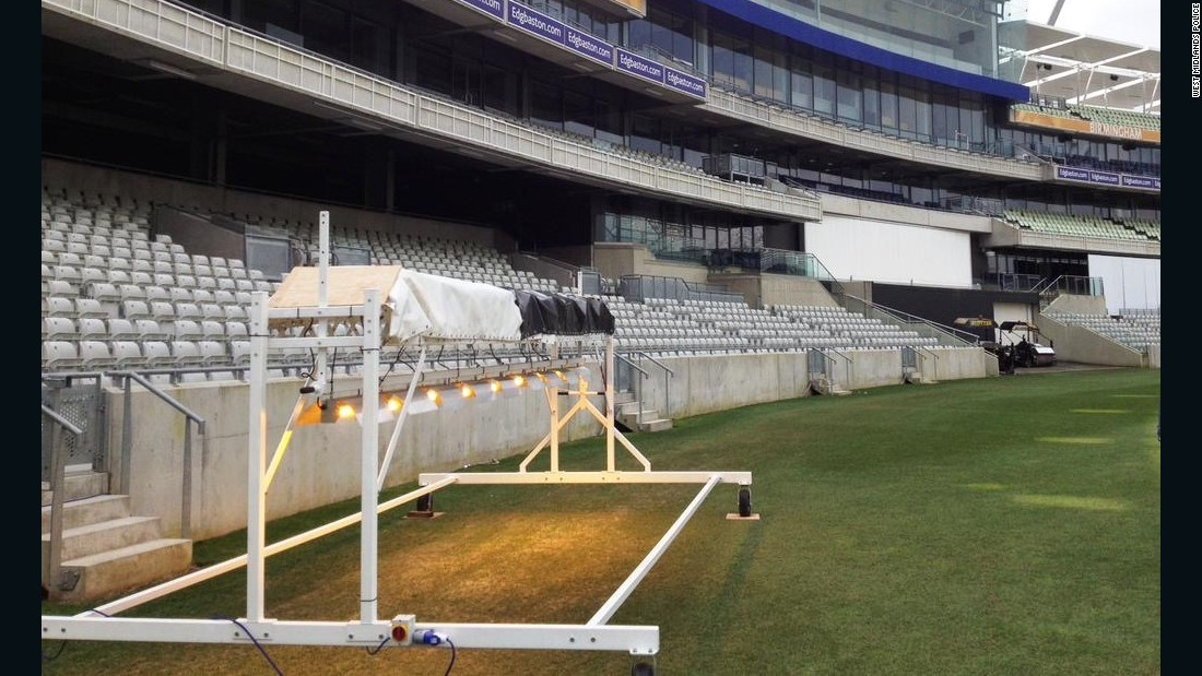 One of the cannabis-growing lamps donated to Warwickshire County Cricket Club (WCCC) by West Midlands Police to help keep soil warm and grow grass on the outfield.