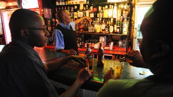 Kenyans enjoy a drink at the Tropez club in Nairobi.