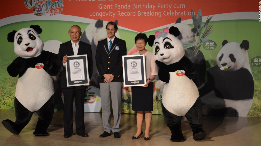 "Blythe Fitzwiliam of Guinness World Records attended Jia Jia's birthday to award her the ""Oldest Panda Ever in Captivity"" and the ""Oldest Panda Living in Captivity"" world records. The previous titleholder was a female panda named Du Du, who spent most of her life in the Wuhan Zoo in China. She passed away in 1999 at age 37."