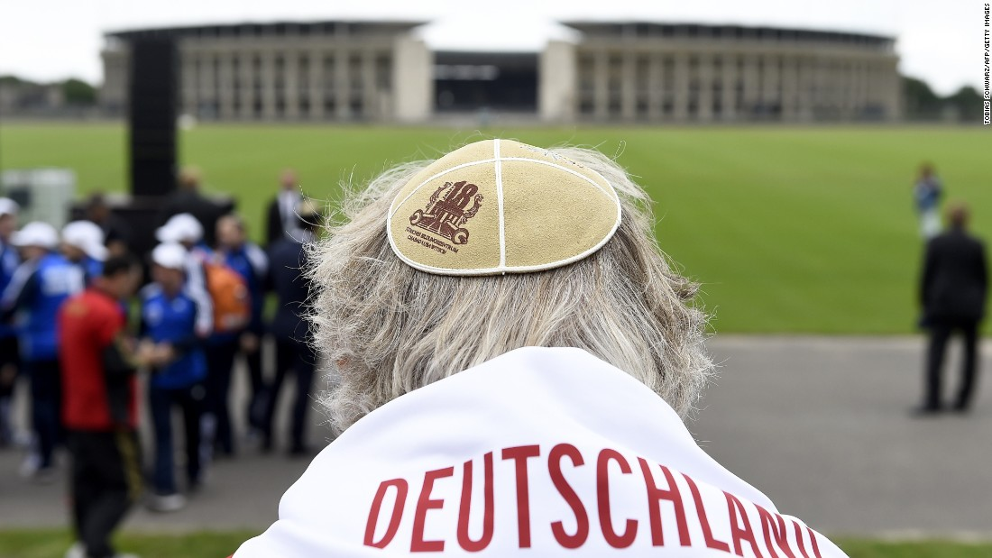 "A man wears a Kippa at the ""Maifeld"" -- a place used by Nazis for mass rallies, near Berlin's Olympic Stadium  -- during a Memorial ceremony for the victims of the Holocaust. Six million Jews were murdered by the Nazi regime and its collaborators."