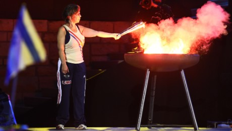 Nancy Glickman lit the torch at the opening ceremony of the European Maccabi Games