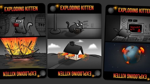 A classic card game, the aim is to avoid drawing exploding kitten cards.