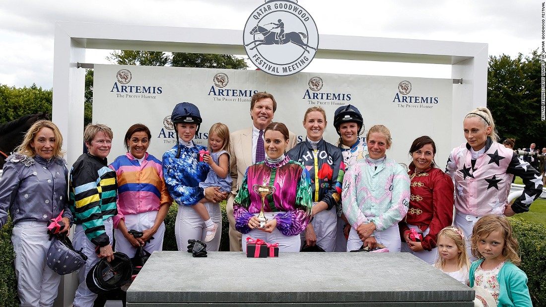 This year's race was won by Camilla Henderson (center) in a race packed with notable names. CEO of telecoms company Talk Talk, Dido Harding (second from left) and Leonora Smee, model and international showjumper (fourth from left) were among the riders.