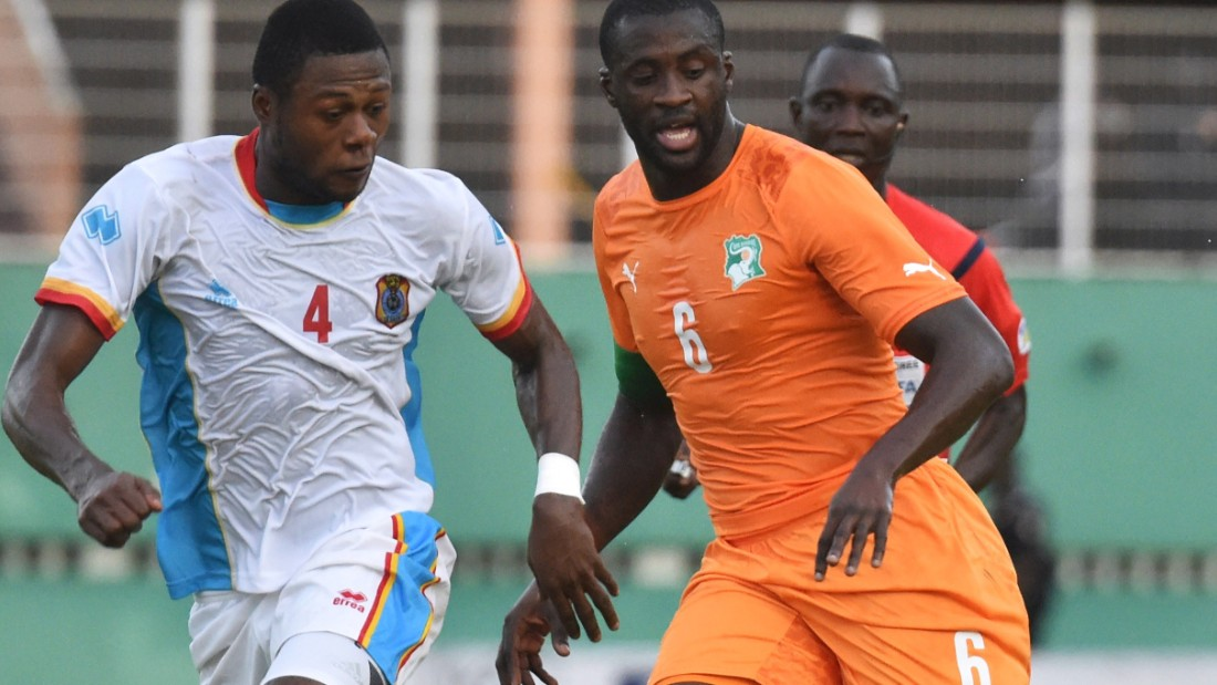Yet for a Cup of Nations qualifier in June 2011, Mbemba's year of birth was listed as November 30, 1991. Here Mbemba is pictured in action against Ivory Coast's Yaya Toure.