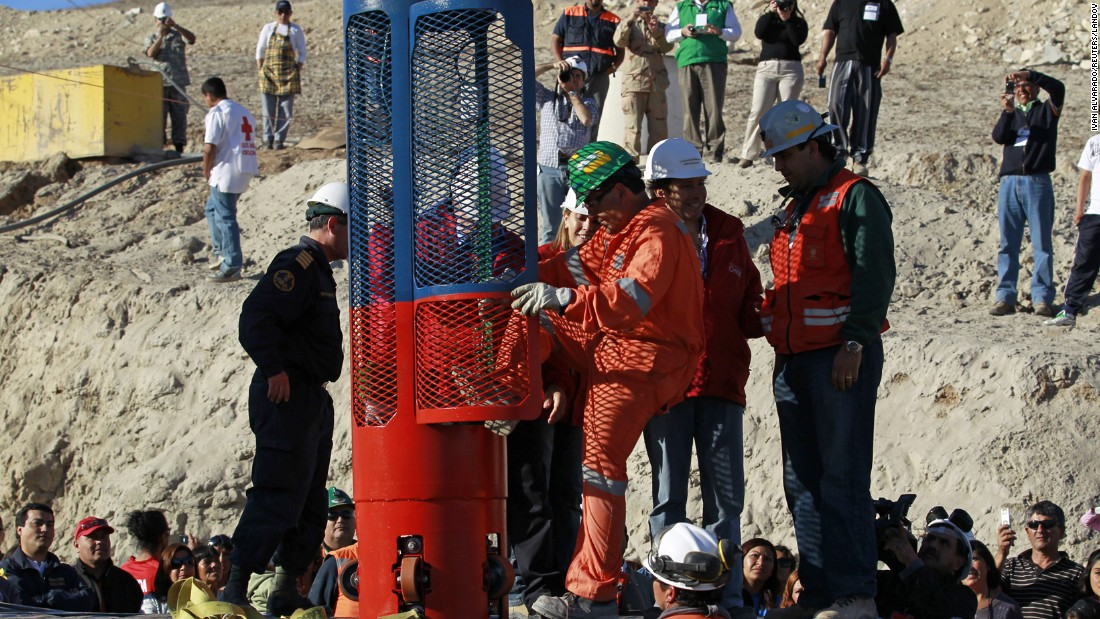 On September 25, a worker tests a capsule that would be used as part of rescue operations.