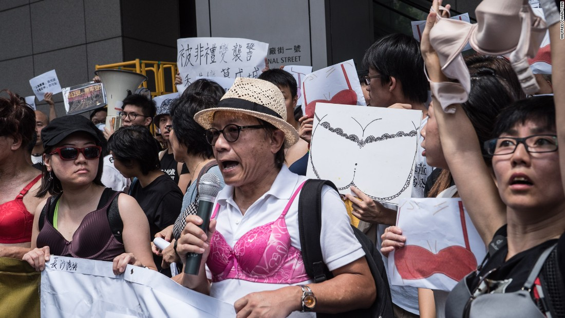 "Angry Hong Kong citizens wore bras to protest the sentencing of a female protester to 3.5 months in prison for ""assaulting a police officer"" with her breast."