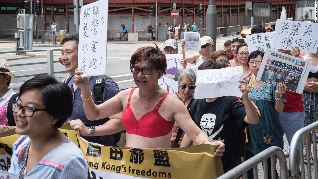 Protesters rallied in support of Ng Lai-ying, the woman sentenced to prison after her chest bumped the right arm of a policeman during a demonstration earlier in March.