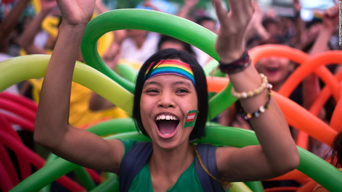 A marcher dances during Vietnam's fourth gay pride parade on August 2 in Hanoi.