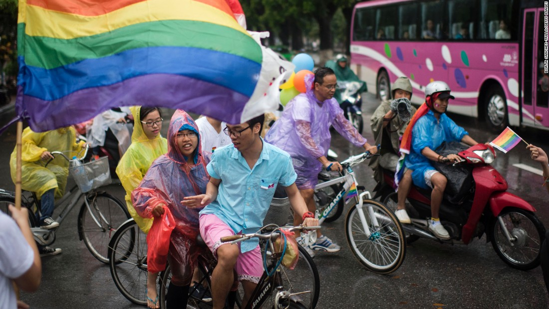 Members and allies of the LGBT community streamed down the streets of Hanoi on August 2.