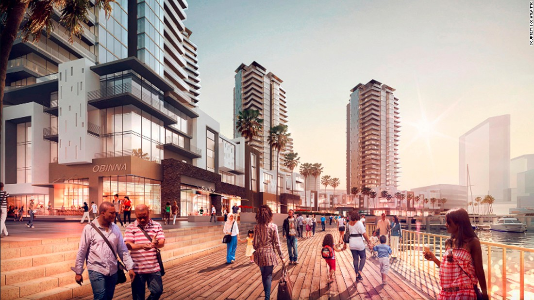 An artist's impression of the esplanade at Eko Atlantic's marina. There will be moorings for private boats and an 18m promenade with opportunities for leisure, residential and retail.