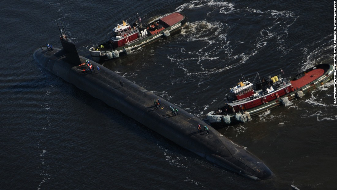 The U.S. Navy has more than a dozen ballistic missile submarines, also called boomers, in service. The boomers, 560 feet long, can carry 24 nuclear-armed Trident II ballistic missiles and serve as nuclear deterrents. Here, the Ohio-class ballistic-missile submarine USS West Virginia departs a naval shipyard in 2013.