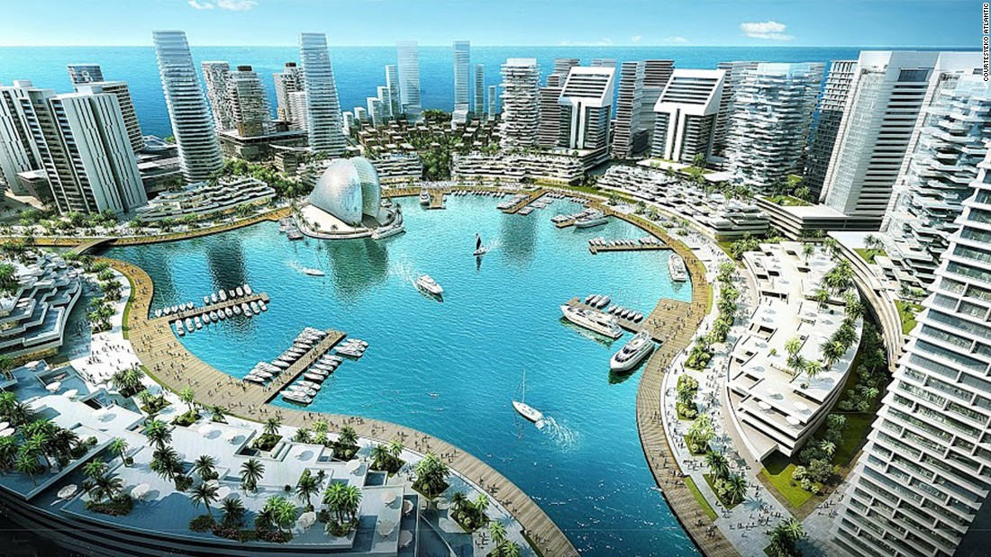 A designer's view of Eko Atlantic's central marina. The new city will be home to quarter of a million people and employ a further 150,000 commuters.