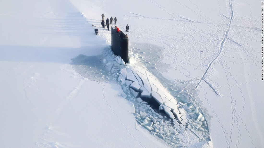 The Los Angeles-class attack submarine USS Hampton surfaces through Arctic ice in March 2014. The Los Angeles-class is the biggest in the Navy's sub fleet, with a few dozen in commission. These subs displace 6,900 tons and are 360 feet long. The class was introduced in 1976.
