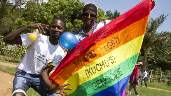 Ugandans taking part in the annual gay pride in Entebbe in 2014.