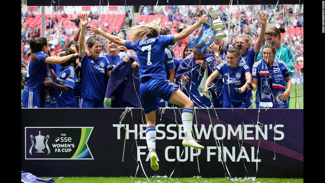 Soccer player Gemma Davison celebrates with her Chelsea teammates after they won the Women's FA Cup final Saturday, August 1, in London. Chelsea defeated Notts County 1-0.