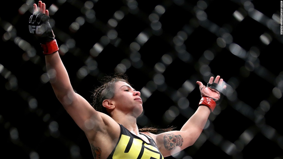 Claudia Gadelha celebrates Saturday, August 1, after she defeated Jessica Aguilar at UFC 190 in Rio de Janeiro. UFC chief Dana White announced after the event that Gadelha would be next in line for a strawweight title shot.