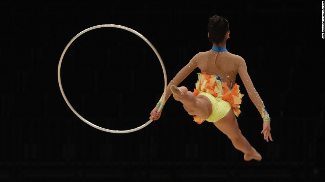 Rhythmic gymnast Agnessa Pavlova performs Thursday, July 30, at the British Gymnastics Championship Series in Liverpool, England.