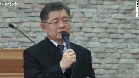"Video grab released by North Korea on August 2 shows Rev. Hyeon Soo Lim ""confessing."""
