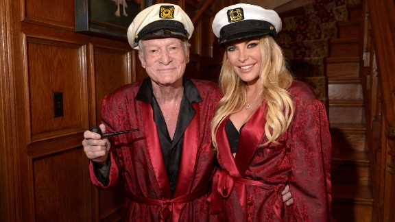 Hugh Hefner and Crystal Hefner attend Playboy Mansion's Annual Halloween Bash on October 25, 2014, in Los Angeles, California.