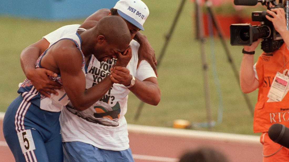 Derek Redmond broke down in tears during the semifinals of the men's 400m in Spain. The Briton had been one of the favorites to win gold but he succumbed to injury midway through his race. After refusing to be carried on a stretcher, Redmond's father Jim carried him over the finish line -- providing one of the most heartbreaking, and abiding, Olympic images.