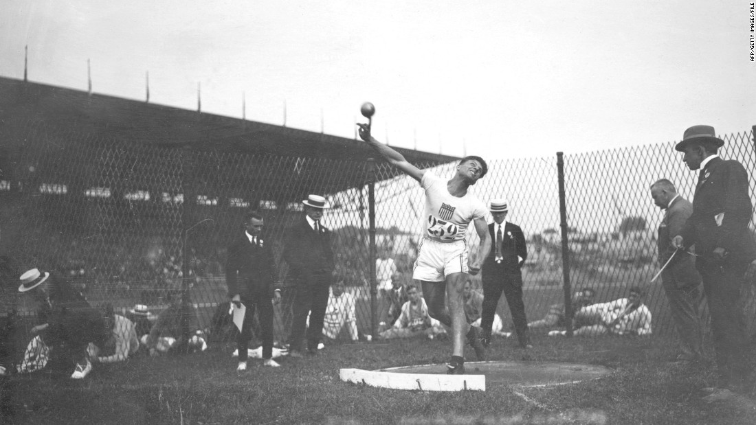 "The Games returned to France in 1924, with U.S. athlete Clarence ""Bud"" Houser winning gold in both the shot put and discus field events -- he defended the latter in Amsterdam four years later."