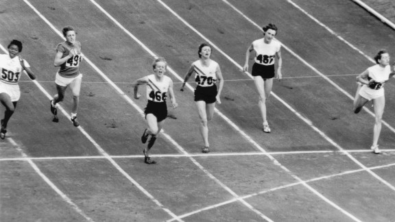 Sprinter Betty Cuthbert (third from the left) was the golden girl of Australia