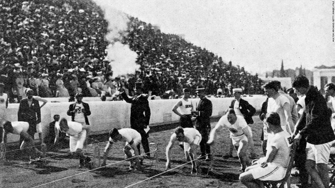 The Olympics left Europe for the first time in 1904 and arrived on U.S. soil. One of the stars in St. Louis was Archie Hahn -- second from the right in this picture taken in 1906. The American won three gold medals, in the 200 and 100 meters and the now-defunct 60 meters.