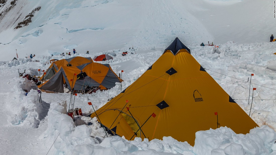 While only halfway up to the peak, from base camp, the established camp at 14,200 feet is thought of as the advanced base camp and launching point for high camp and the summit. Elaborate camps are set up with snow walls and kitchen tents dug into the snow.