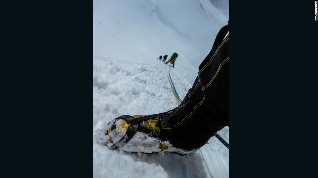 After leaving the advanced base camp, climbers clip themselves into a section of ropes attached to the snow and ice. These ropes, called fixed lines, allow climbers to safely ascend the steep and icy slope between 15,000 and 16,000 feet.