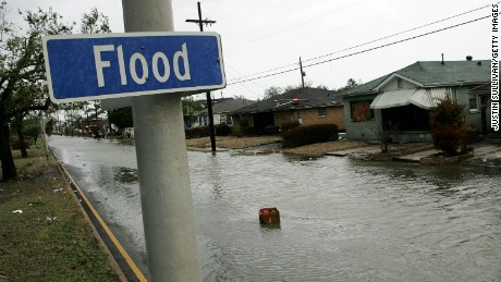 Flood Street in New Orleans' Lower Ninth Ward sustained 12 feet of flooding during Hurricane Katrina.