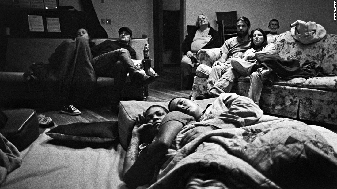 Though many members now have laptops, televisions at Twin Oaks are only used for playing DVDs. A group gathers in the recreational space of Kaweah, one of the residences, for a movie night in 2007.