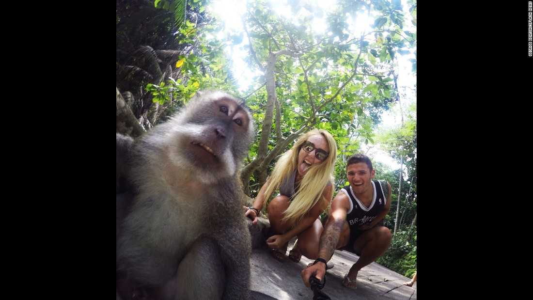 "British tourist George Benton and his girlfriend, Ella, snap a cheeky selfie with a monkey at the Ubud Monkey Forest in Bali, Indonesia, on Tuesday, August 4. ""We couldn't believe our luck when we looked back at the photos,"" Benton said. ""He looked straight into the camera!"""