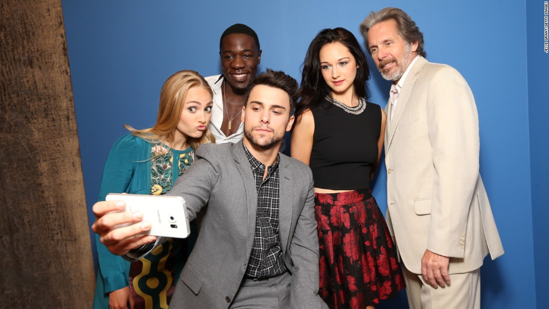 "Stars of the upcoming miniseries ""Mercy Street"" take a selfie Saturday, August 1, in Beverly Hills, California. From left are actors AnnaSophia Robb, McKinley Belcher III, Jack Falahee, Hannah James and Gary Cole."