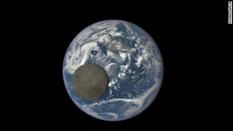 This image shows the far side of the moon, illuminated by the sun, as it crosses between the DSCOVR spacecraft's Earth Polychromatic Imaging Camera (EPIC) camera and telescope, and the Earth - one million miles away.