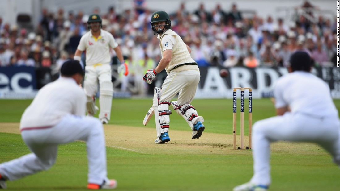 First out: Chris Rogers of Australia edges the ball into the hands of England captain Alastair Cook during day one of the fourth Ashes Test match between England and Australia at Trent Bridge in Nottingham, United Kingdom.