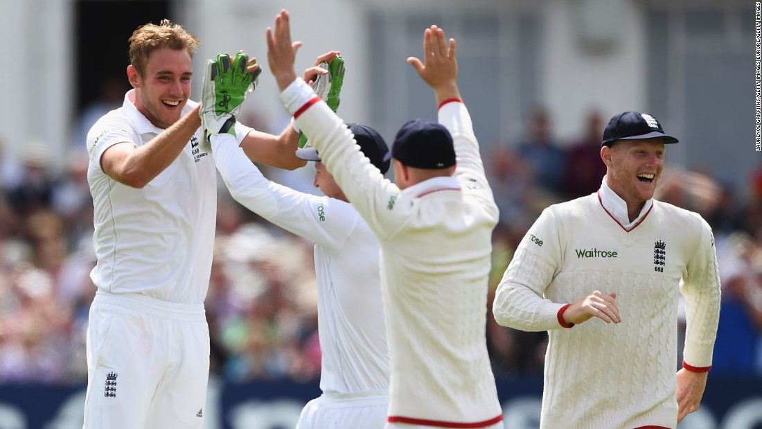Eighth out: Broad celebrates the wicket of Mitchell Johnson of Australia.