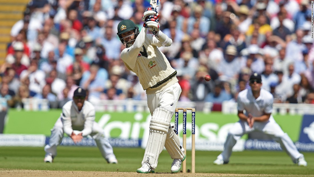 Tenth out: Australia's Nathan Lyon swings but misses the ball on the third day of the third Ashes cricket test match between England and Australia. Broad later took his eighth and final wicket of the morning as Australia were all out for 60.