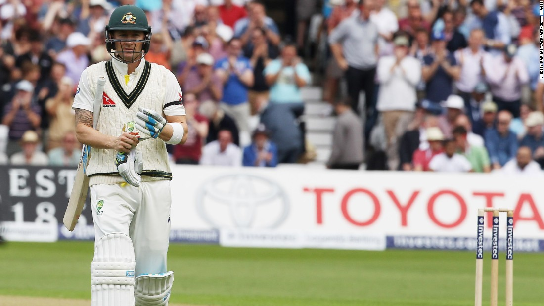 Fifth out: Australia captain Michael Clarke leaves the crease after Broad takes his fourth wicket of the day.