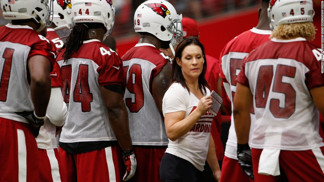 The Cardinal's Welter -- who has a PHD in psychology -- says she takes a mental approach to coaching. Welter is hoping to land a permanent role in the NFL.